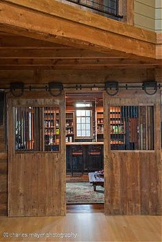 "It looks like a ""study room"", but I would totally make a kitchen in a barn like this. If I was able to build a facility that I could have people board their horses there.heck yes, kitchen for sure! Barn Living, Country Living, Converted Barn, Tallit, My Dream Home, Dream Barn, The Ranch, Decoration, Future House"