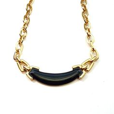 Monet Necklace GoldTone Choker Black by Vintageby1980sExcess, $22.00