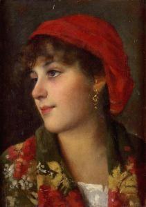Eugenio De Blaas The face of young woman common people (Volto di giovane popolana)