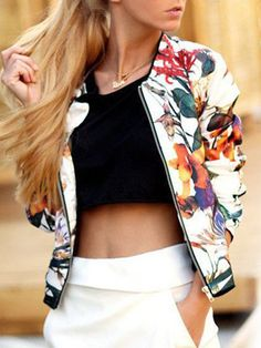 Multicolor Florals Zipper Jacket 21.46