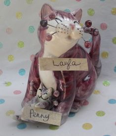 """""""Layla & baby Penny"""" Mother's day cute purple WhimsiClay Cat figurines, adorable #WhimsiClay"""