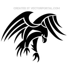 Tribal eagle vector clip art - Free vector image in AI and EPS format. Silhouette Aigle, Adler Silhouette, Silhouette Machine, Tribal Tattoos, Tribal Eagle Tattoo, Eagle Tattoos, Tribal Wings, Wing Tattoos, Celtic Tattoos