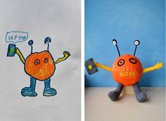 Toy art inspired by children's drawings. Nice.