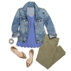 I don't really like denim jackets, but the olive cropped pants and the gorgeous scalloped cami are both very welcome to make an appearance in my next fix! #stitchfix