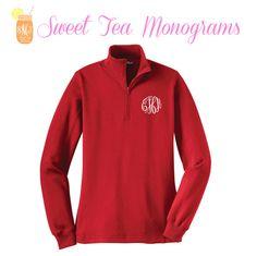 ON SALE! Red Monogram Quarter Zip Pullover on Etsy, $42.50