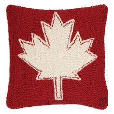 "Canadian Maple Leaf 18"" Hooked Wool Pillow"
