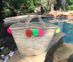 French Market Basket pom pom french market bag by Spiralspiral