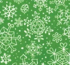Moda Fabric Sara Khammash Penguins Pals Snowflakes green