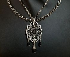 sterling silver double chain Victorian with black star sapphire and black Czech glass dangles $200 Star Sapphire, Leather Gifts, Double Chain, Black Star, Black Glass, Victorian Fashion, Sterling Silver Pendants, Vampire Queen, Queen Costume