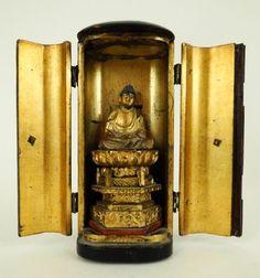 Antique 19c Japanese Miniature Carved Wood Gilt Lacquer Zushi Shrine w Buddha