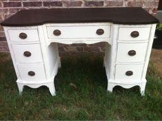 dark stain on top, bottom ivory white, contrast, desk/vanity, dark hardware/ Stacy Ash