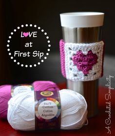 Free Crochet Pattern - Love at First Sip Coffee Sleeve - A Crocheted Simplicity Crochet Coffee Cozy, Crochet Cozy, Crochet Gifts, Free Crochet, Holiday Crochet, Crochet Chain, Freeform Crochet, Crochet Things, Christmas Knitting