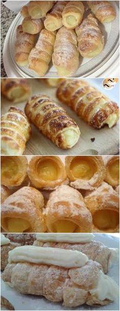 CANUDINHO COM CREME DE BAUNILHA, UMA RECEITA DELÍCIOSA!!! VEJA AQUI>>>No liquidificador bata o leite, o óleo, os ovos e o fermento esfarelado. #receitas#salgadas#tortas#empadão#massas#lanches