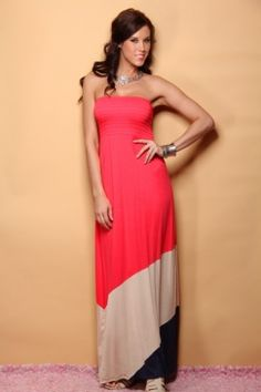 Coral Strapless Smocked Color Block Maxi Dress