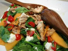 Chicken Feta Salad with Cantaloupe Spinach Main Dish Salads, Main Dishes, Cantaloupe Recipes, Feta Salad, Spinach And Feta, Healthy Chicken Recipes, Food Inspiration, Dressings, Salad Recipes