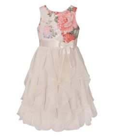 Look what I found on #zulily! Pink Floral Ruffle Tier Dress - Infant, Toddler & Girls by American Princess #zulilyfinds