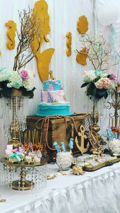 What a stunning mermaid birthday party! See more party ideas at CatchMyParty.com!