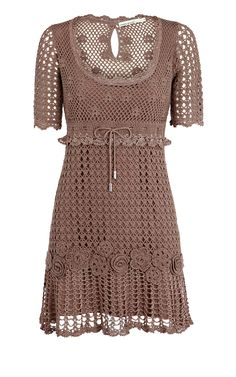 crochet clothes for women | BNWT KAREN MILLEN TAUPE CROCHET DRESS KL203 SIZE 2