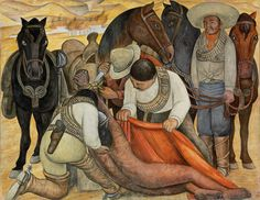In Liberation of the Peon (1931), Rivera developed a harrowing narrative of corporal punishment. A laborer, beaten and left to die, is cut down from a post by sympathetic revolutionary soldiers, who tend to his broken body. Peonage—a system of indentured servitude established by Spanish colonizers, under which natives were forced to work the land—persisted in Mexico into the 20th century.