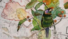 Detail from, 'A History of Parrots, Drifting Maps and Warming Seas'. 2005. From 'John Wolseley, Land Marks III', ...
