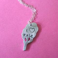 I Heart Kale Necklace by Christy Robinson - Vegan Cuts. My sister loves kale. Vegan Cuts, Vegan Clothing, Jewelry Design, Unique Jewelry, Last Minute Gifts, Kale, Dog Tag Necklace, Jewelery, Pendant Necklace
