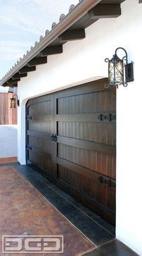 San Clemente, CA Custom Spanish Colonial Garage Door With Dummy Deco Hardware! - Mediterranean - Garage - Orange County - by Dynamic Garage Door Spanish Exterior, Spanish Colonial Homes, Spanish Style Homes, Spanish House, Spanish Revival, Colonial Art, Contemporary Garage Doors, Custom Garage Doors, Garage Door Hardware