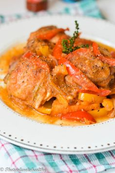 Haitian stewed chicken (Poulet Creole) - That Girl Cooks Healthy - Haitian - ohrschmuck Carribean Food, Caribbean Recipes, Healthy Cooking, Cooking Recipes, Eating Healthy, Clean Eating, Healthy Protein Snacks, Healthy Shakes, Healthy Breakfasts