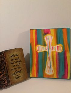 This bright painting is whimsical and done on an canvas. The colors work nicely together, and this work of art would be a wonderful addition to any room. Cross Paintings, Canvas Paintings, Bright Paintings, Vbs Crafts, Creative Studio, Vibrant Colors, Colorful, Christmas Holidays, Whimsical