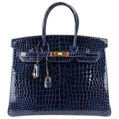 Hermes Birkin 35 Bag Blue Sapphire Porosus Crocodile Gold Hardware New  Hermes Birkin a80c6e0a78ed5