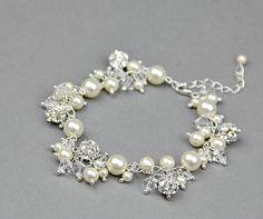 Bridal cluster bracelet Swarovski crystal by LavenderByJurgita, $89.00