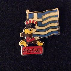 1984 LA Olympic Sponsor Coca Cola Sam Greece Flag Pin Back #Greece