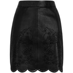 OASIS Cutwork Leather Mini Skirt (155 BRL) ❤ liked on Polyvore featuring skirts, mini skirts, black, short floral skirt, leather mini skirt, flower print skirt, reversible skirt and short skirts