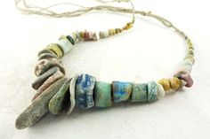 Artisan Necklace hemp ceramic porcelain by greybirdstudio on Etsy, £95.00