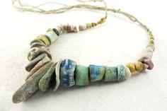 Artisan Necklace hemp ceramic porcelain by greybirdstudio on Etsy, £95.00