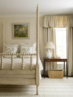 Poster Bed - Painted White Love this, minus drapes