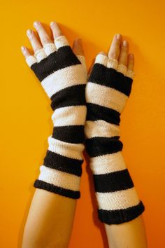 Elegant Warm Mittens in Shiny Black Soft Comfortable Acrylic Fingerless Gloves well fitting Hand Knitted Long Wrist Warmers with Thumb