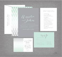 MODERN GEOMETRIC Print Wedding Invitations - Script Calligraphy - Grey & Mint
