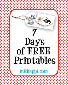 7 Days of free printables! - inkhappi