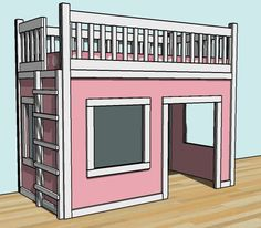 Build a Playhouse Loft Bed   Free and Easy DIY Project and Furniture Plans  MOM - can you imagine how much a little girl would love this?? put their little kitchen set in it and what-not..... *smile!