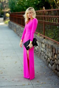 Hot pink maxi dress and black clutch