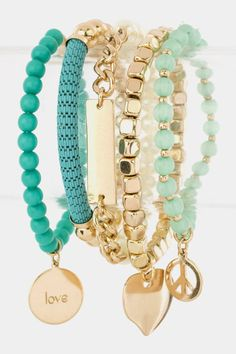 Layered Heart Charms Multiple Bracelets Set (Teal/Mint) - $25