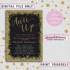 "Bachelorette Casino Night Invite ""Slots & Sangria"" Collection (Printable File Only) Gold Sparkle Diamond Spill Ante Up Gambling Chips Vegas by WhimsicalStationery on Etsy https://www.etsy.com/listing/234097949/bachelorette-casino-night-invite-slots"