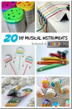 20 Homemade Musical Instruments - So many cute and creative musical instruments kids can make and play with. I can see Toddler, Preschool, Kindergarten and 1st grade kids especially enjoying these!