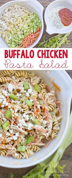 Buffalo Chicken Pasta Salad Recipe -perfect for summer BBQ's!