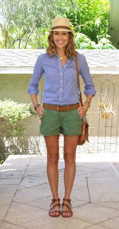 Gingham top with olive shorts