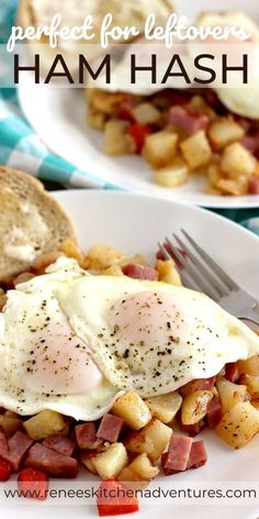 Ham Hash by Renee's Kitchen Adventures is a fun twist on corned beef hash recipe replacing corned beef with ham. This is a great recipe for leftover holiday ham! Serve it with a couple of eggs for a great breakfast or anytime meal! Leftover Ham Recipes, Leftovers Recipes, Brunch Recipes, Breakfast Recipes, Ham Hash Recipe, Pork Recipes, Cooking Recipes, Recipes With Ham, Amish Recipes