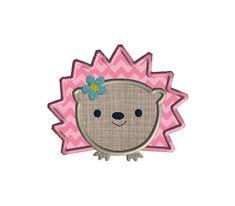 Hedgehog Girl Applique Machine Embroidery Design-INSTANT DOWNLOAD