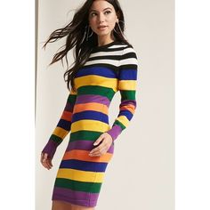 Forever21 Stripe Sweater Dress (1 070 UAH) ❤ liked on Polyvore featuring dresses, forever 21 dresses, long sleeve stripe dress, stripe dress, full length dresses and long sleeve bodycon dress