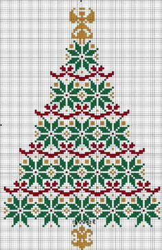 Christmas Tree cross stitch pattern (Russian language? but can see patterns fine):