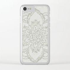Boho Glam Mandala Silver Aqua Clear iPhone Case